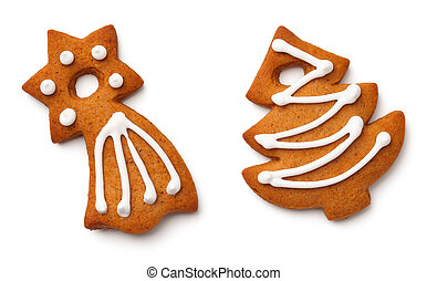 Christmas Gingerbread Cookies Isolated on White Background