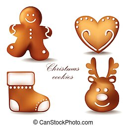 Christmas gingerbread cookies Vector. Detailed decors