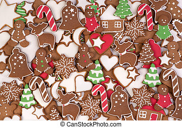 Christmas gingerbread cookies, winter holiday food