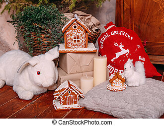 Christmas gingerbread decorated frosting decoration white rabbit