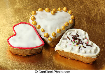 Christmas gingerbread heart cookies