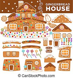 Christmas gingerbread house constructor cartoon cookie candy...