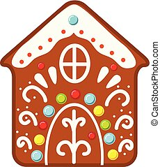 Christmas gingerbread house cookie. New year icon, clip art