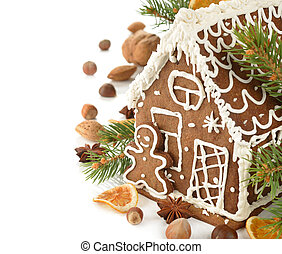 Christmas gingerbread house on a white background