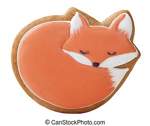Christmas gingerbread in the form of a fox on a white background