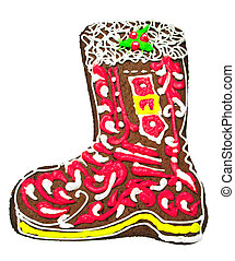 Christmas gingerbread in the shape of a boot