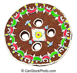 Christmas gingerbread in the shape of a button