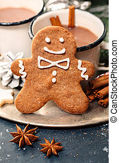 Christmas gingerbread man and hot chocolate