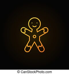 Christmas gingerbread man cookie yellow line icon