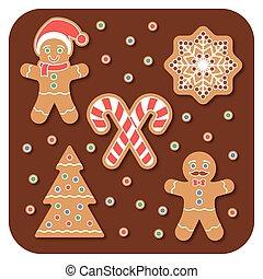 Christmas Gingerbread man cookies set