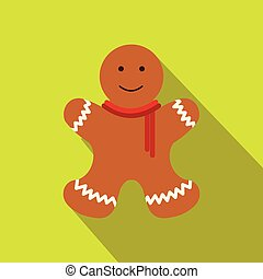 Christmas gingerbread man flat icon - Christmas gingerbread...