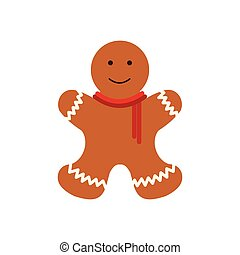 Christmas gingerbread man flat icon isolated on white...