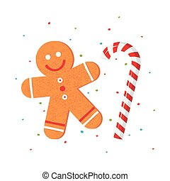 Christmas gingerbread man in flat style, vector