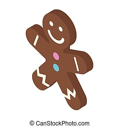 Christmas gingerbread man isometric icon. Single image on a...