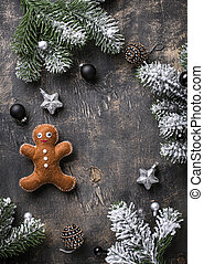 Christmas gingerbread man made by felt