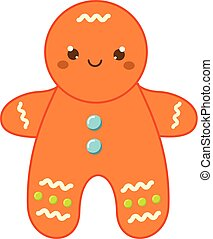 Christmas gingerbread man. New year icon in cute kawaii style