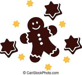 Christmas gingerbread man with stars
