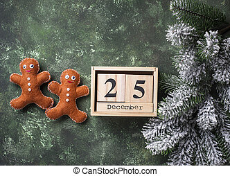 Christmas gingerbread men made of felt