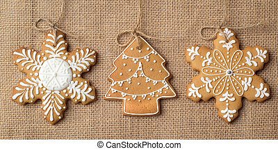 Christmas gingerbread on the fabric