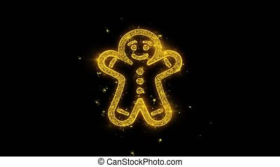 Christmas Gingerbread Ornament Man Golden Particles Sparks...