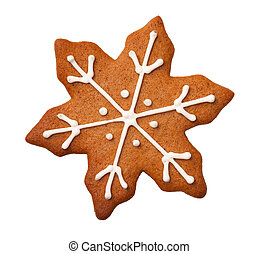 Christmas Gingerbread Snowflake Cookie Isolated on White Background