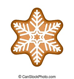 christmas gingerbread stars with snowflake