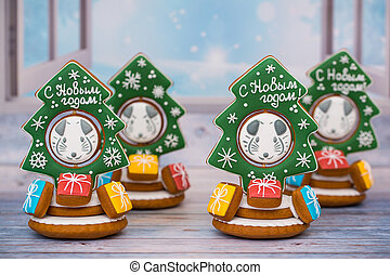 Christmas gingerbread, symbol of the new year 2020