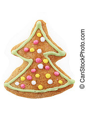 christmas gingerbread tree isolated