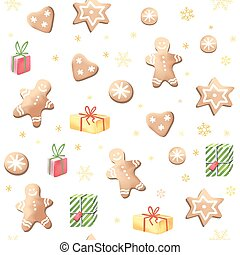 Christmas gingerbreads and gifts.