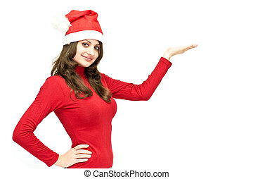 Christmas girl in red santa hat