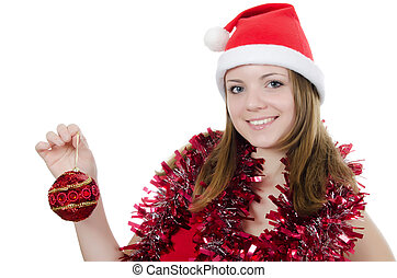 Christmas girl isolated on white