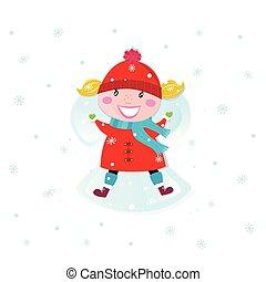 Christmas girl making angel in snow