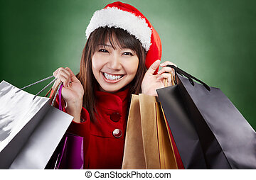 Christmas girl shopping