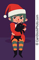 Christmas Girl Sitting with a Dog on her Lap