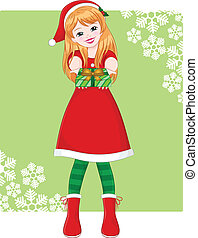 christmas girl - smiling girl in christmas outfit handing ...