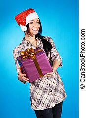 Christmas girl with a gift box