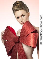 christmas girl with big bow