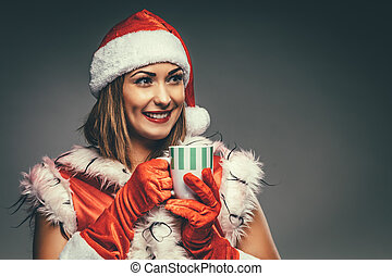 Christmas Girl With Cup Of Tea