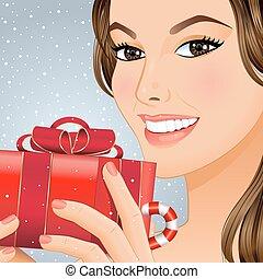 Christmas girl with gift box