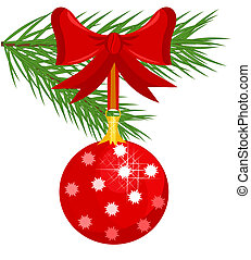 Christmas glass ball on fir