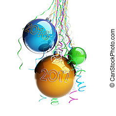 Christmas glass ball Toys 2017 new year on a white background. 3d Illustrations
