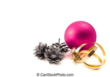 Christmas glass ball with pine cones