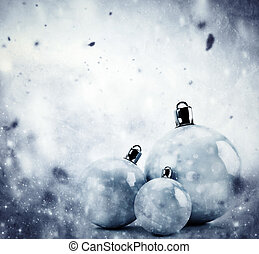Christmas glass balls on winter vintage background -...