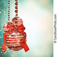Christmas glass balls with blur abstract background