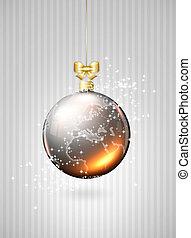 christmas glass balls with world map