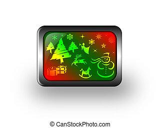 Christmas glass button