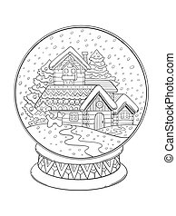 Christmas glass sphere coloring vector - Christmas glass...