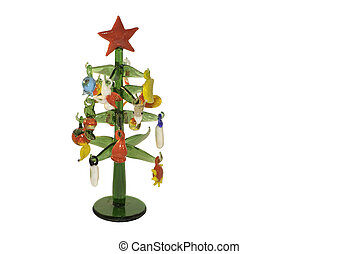 Christmas glass tree with colorful decorations