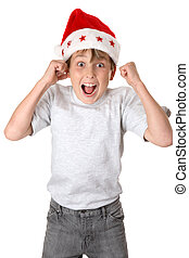 Christmas Glee - A child wearing a red santa hat jumps with...