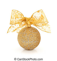 Christmas Glitter Ball - Christmas gold glitter bauble with...